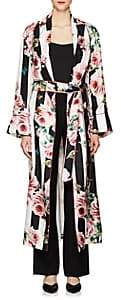 Dolce & Gabbana Women's Striped & Rose-Print Silk Belted Robe Coat - Wht.&blk.