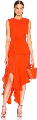 Sies Marjan Helena Ruffle Asymmetrical Full Dress in Blood Orange   FWRD