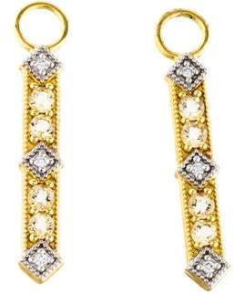 Jude Frances 18K Diamond & Quartz Lisse Bar Earring Charms