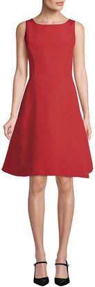 Oscar de la Renta Stretched Wool Ruffle Dress