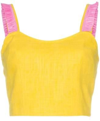 STAUD Yellow Coco linen crop top