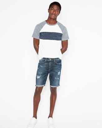 Express Slim 9 Inch Dark Wash Destroyed Denim Shorts