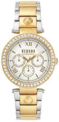Versus By Versace Versus Women Camden Market Crystal Two Tone Gold/Silver Bracelet Watch 38mm