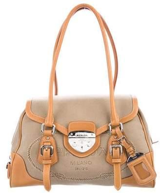 Prada Leather-Trimmed Canapa Bag