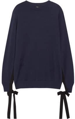 CLU - Grosgrain Bow-embellished Cotton-jersey Sweatshirt - Navy $275 thestylecure.com