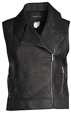 Lafayette 148 New York Women's Stevie Leather Moto Vest