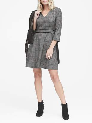 Banana Republic Plaid V-Neck Fit-and-Flare Dress
