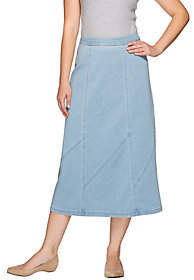 Denim & Co. Stretch Denim Midi Skirt withPanel Details