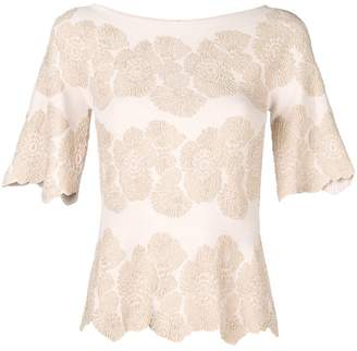 D-Exterior D.Exterior floral embroidered knit top