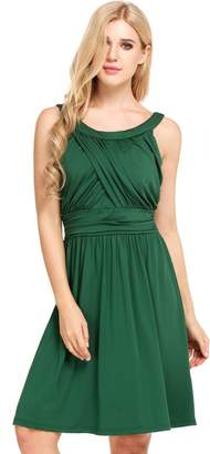 Meaneor Women Classy Round Neck Sleeveless Pleated Waist Wrap A-line Party Cocktail Dress