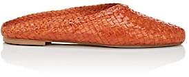 Barneys New York Women's Basket-Weave Leather Mules - Orange