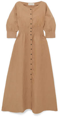Mara Hoffman Amia Tencel And Linen-blend Maxi Dress - Tan