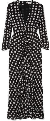 RIXO London - Adriana Ruffled Polka-dot Silk-crepe Midi Dress - Black
