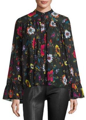 McQ Alexander McQueen Shirred Floral Chiffon Blouse, Black/Multicolor $415 thestylecure.com