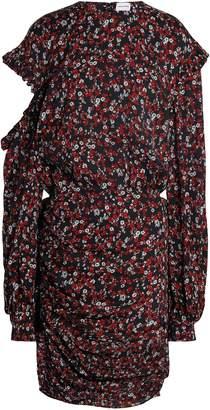Magda Butrym Cutout Printed Silk-crepe Mini Dress