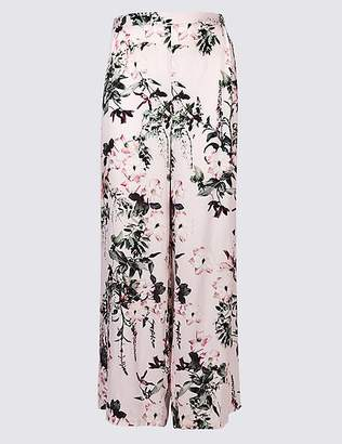 Marks and Spencer CURVE Floral Print Wide Leg Trousers