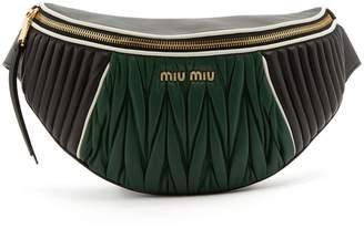 Miu Miu Contrast-panel matelassé-leather belt bag