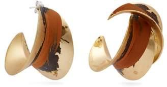 Albus Lumen - Mismatched Painted Earrings - Womens - Orange