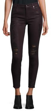 7 For All Mankind Distressed Coated Skinny Jeans $229 thestylecure.com