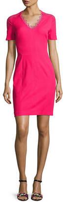 Elie Tahari Ainsley Short-Sleeve Lace-Trim Sheath Dress $248 thestylecure.com