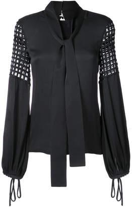 Oscar de la Renta cage embroidery tie neck blouse