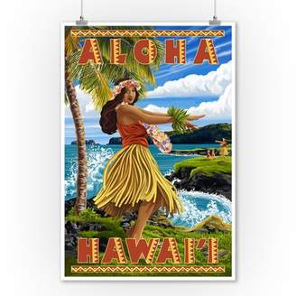 Hula Girl on Coast - Aloha Hawaii - Lantern Press Poster (9x12 Art Print, Wall Decor Travel Poster)
