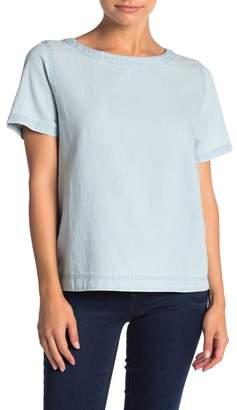 Susina Chambray Buttoned Back T-Shirt (Regular & Petite)
