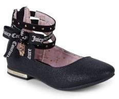 Juicy Couture Girl's Logo Ankle-Strap Flats