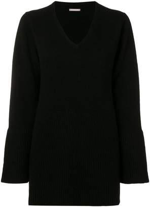 Hemisphere flared sleeve V-neck sweater