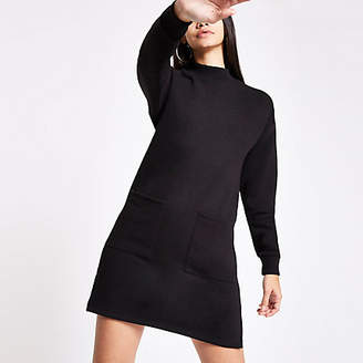 River Island Black patch pocket sweater dress