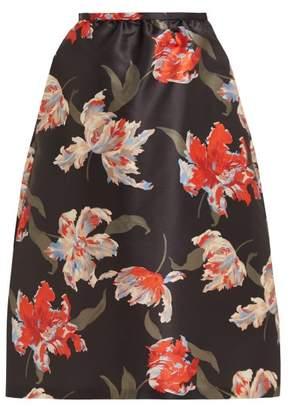 Rochas Floral Print Satin Midi Skirt - Womens - Black