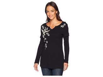 True Grit Dylan by Embroidered Thermal Woodside Bloom Long Sleeve Top