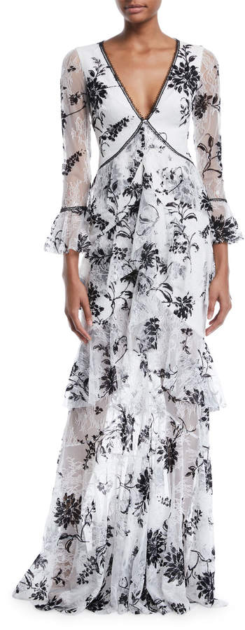 Marchesa Notte Flocked Lace V-Neck & Ruffle Gown