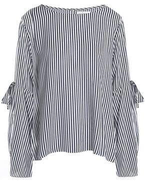 Velvet by Graham & Spencer Bow-Detailed Striped Woven Top