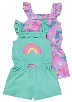 George Unicorn Rainbow Print Jersey Playsuits 2 Pack