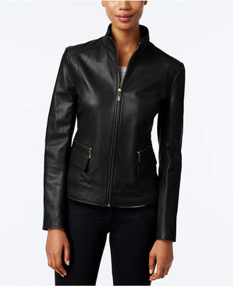 Cole Haan Leather Stand-Collar Jacket $450 thestylecure.com