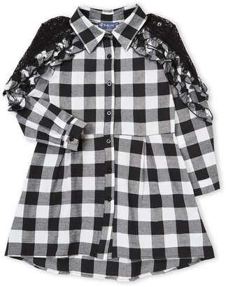 Truly Me Girls 7-16) Buffalo Plaid Ruffle Shirtdress