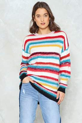 Nasty Gal Somewhere Over the Rainbow Striped Sweater