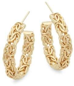 """Saks Fifth Avenue Woven Yellow Gold Hoops/1"""""""
