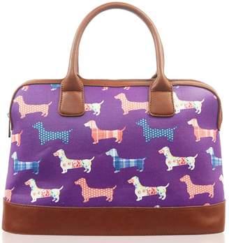 BEIGE Kukubird Poodle Print Matte Canvas Satchel Bowling Bag with Kukubird Dust Bag - Purple