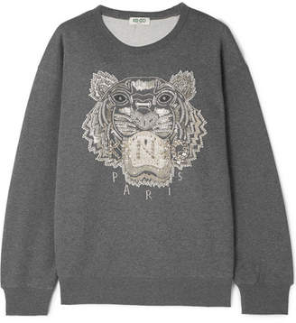 Kenzo Embellished French Cotton-terry Sweatshirt - Dark gray