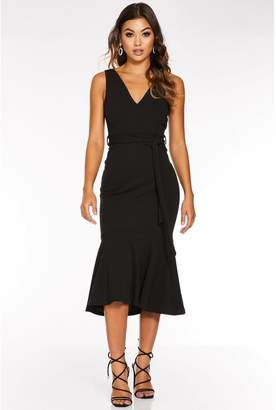 Quiz Black V Neck Fishtail Midi Dress