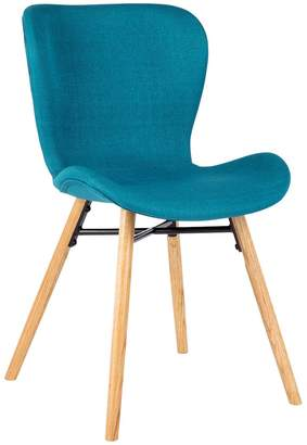 95c9ec87c08 Etta Teal blue fabric upholstered dining chair with oak legs
