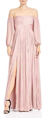 Halston Pleated Off-the-Shoulder Gown