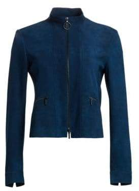 Akris Punto Zip-Up Suede Jacket