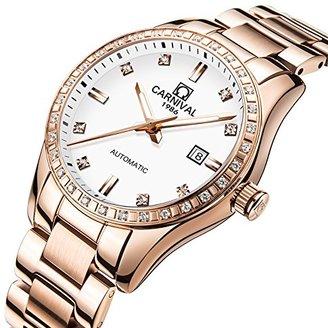 Carnival レディースアナログ光とベゼルインレーラインストーンファッション自動機械カレンダーFemale Watch Rose Gold