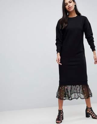 Asos Design Maxi Sweat Dress With Embroidered Mesh Hem
