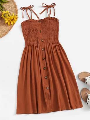 Shein Plus Self Tie Shoulder Button Front Lettuce Frill Shirred Dress