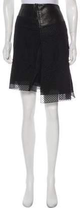 Reed Krakoff Leather-Trimmed Knee-Length Skirt