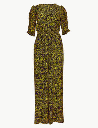 Marks and Spencer Animal Print Short Sleeve Maxi Jumpsuit